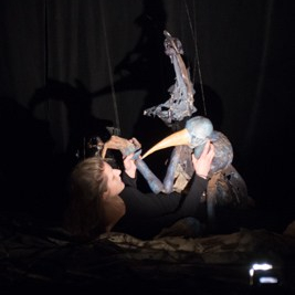 A string bird puppet I made in a workshop with string puppeteer Mary Sharp